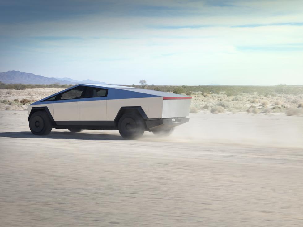 Tesla Cybertruck driving desert testing