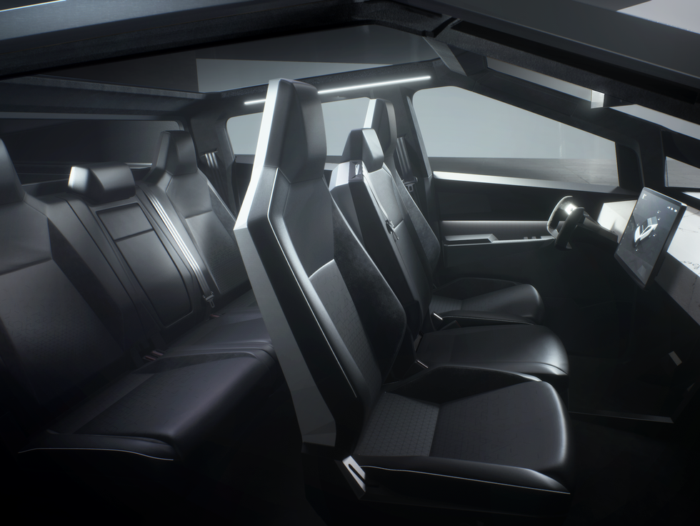 Tesla Cybertruck interior seats wheel screen