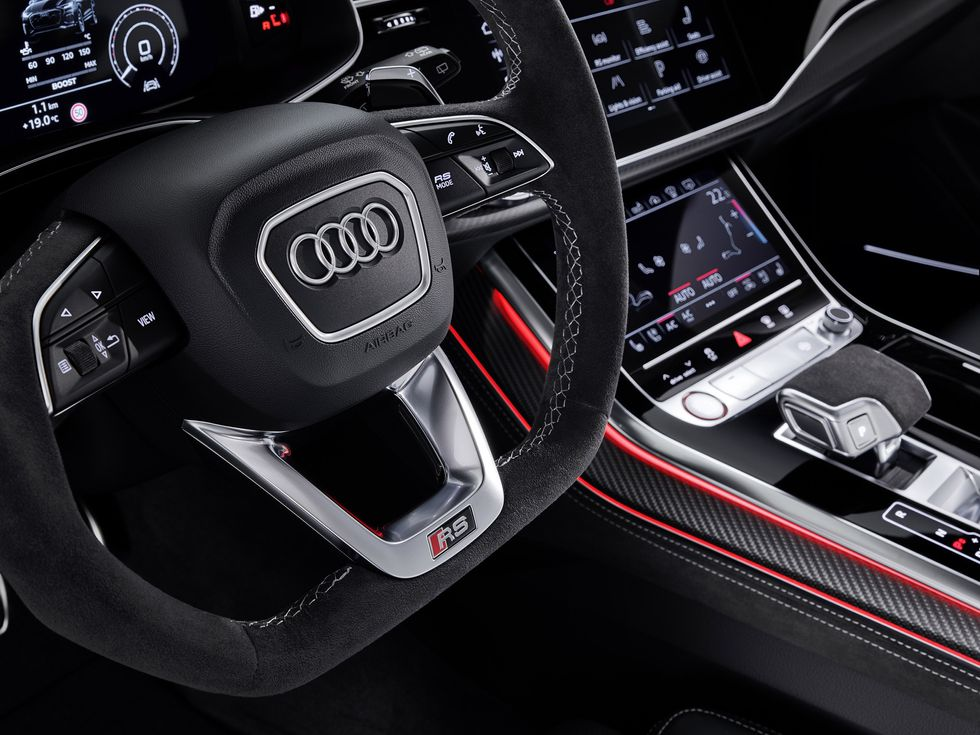 2020 Audi RS Q8 interior black leather MMI touch screen virtual cockpit