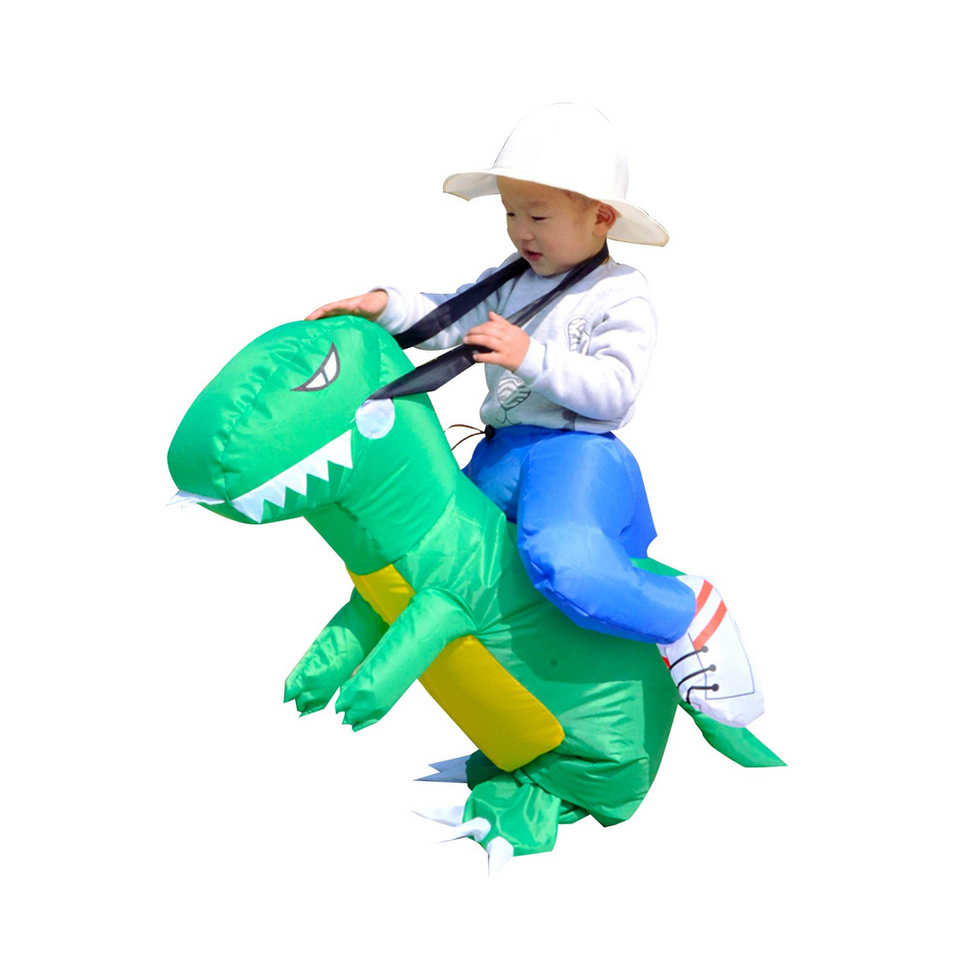 Baby Toddler Inflatable Dinosaur Rider Costume Halloween Party Funny Dress Toy For Kids 2-5 Age