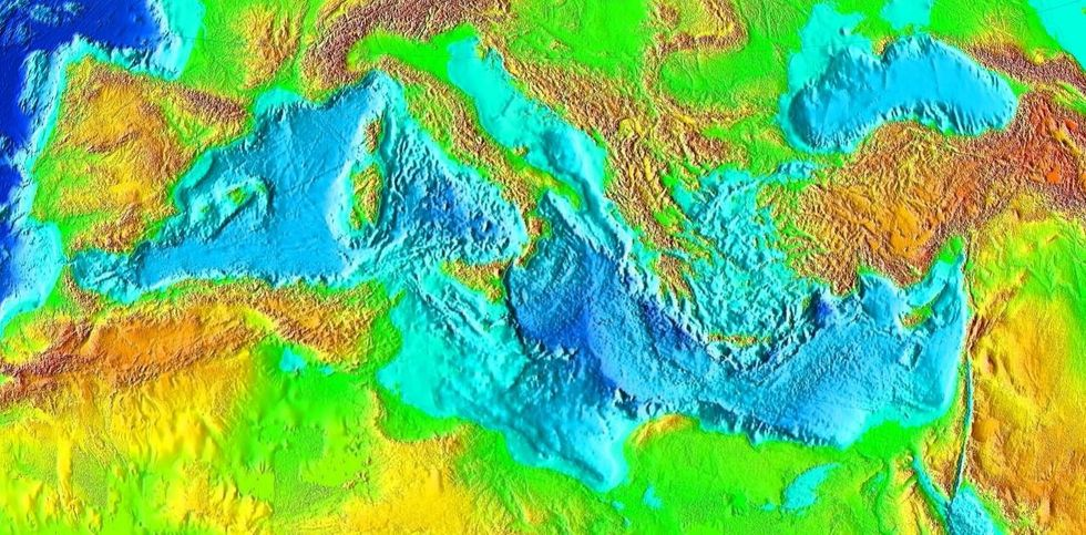 Topographic map of the Mediterranean Sea basin, once home to the continent of Greater Adria.