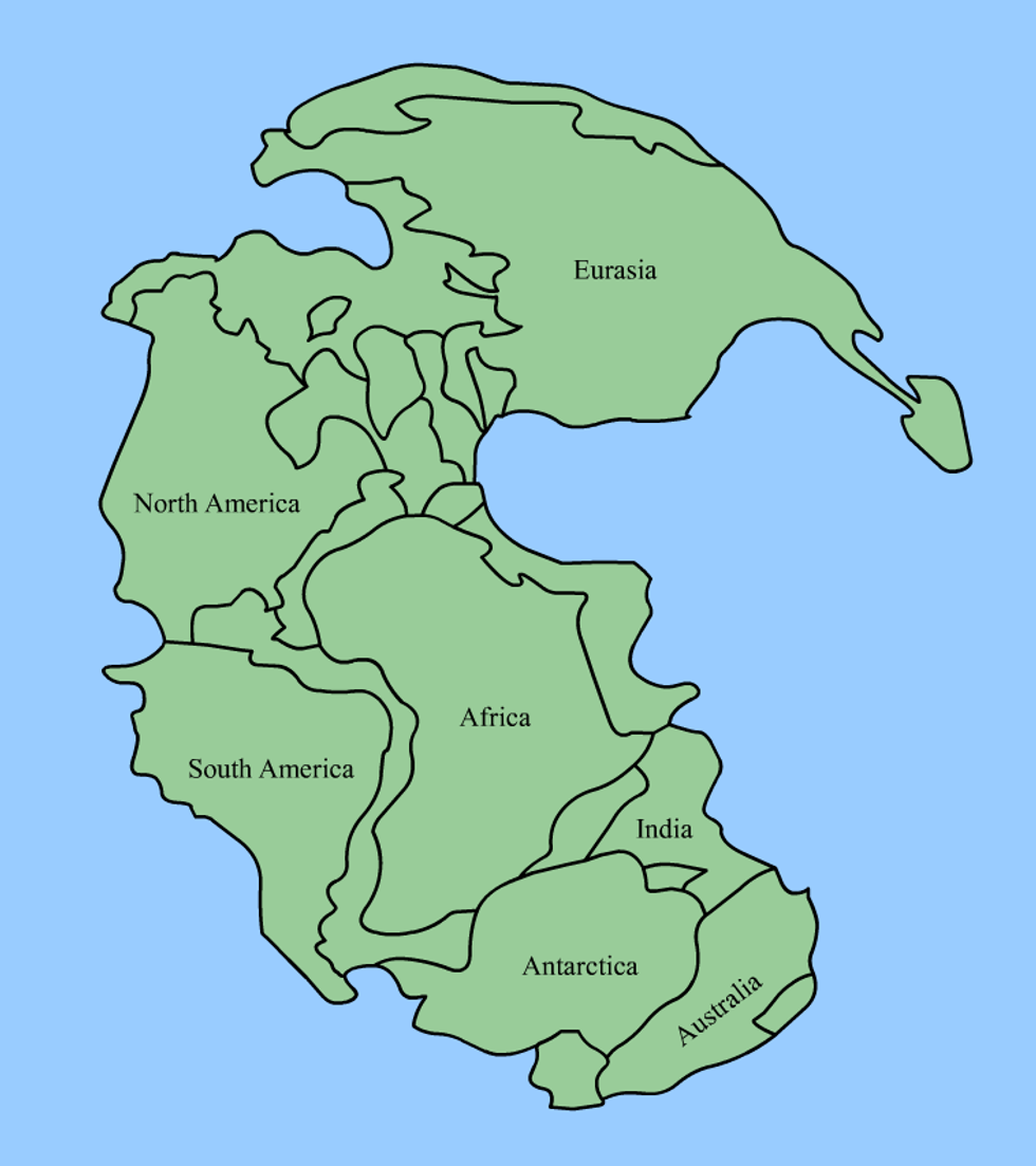 All together now: the supercontinent of Pangaea (335-175 million years ago).