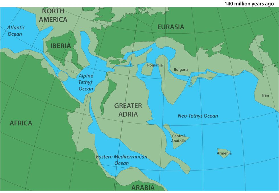 A reconstruction of Greater Adria, Africa and Europe about 140 million years ago. In lighter green, submerged parts of continental shelves.