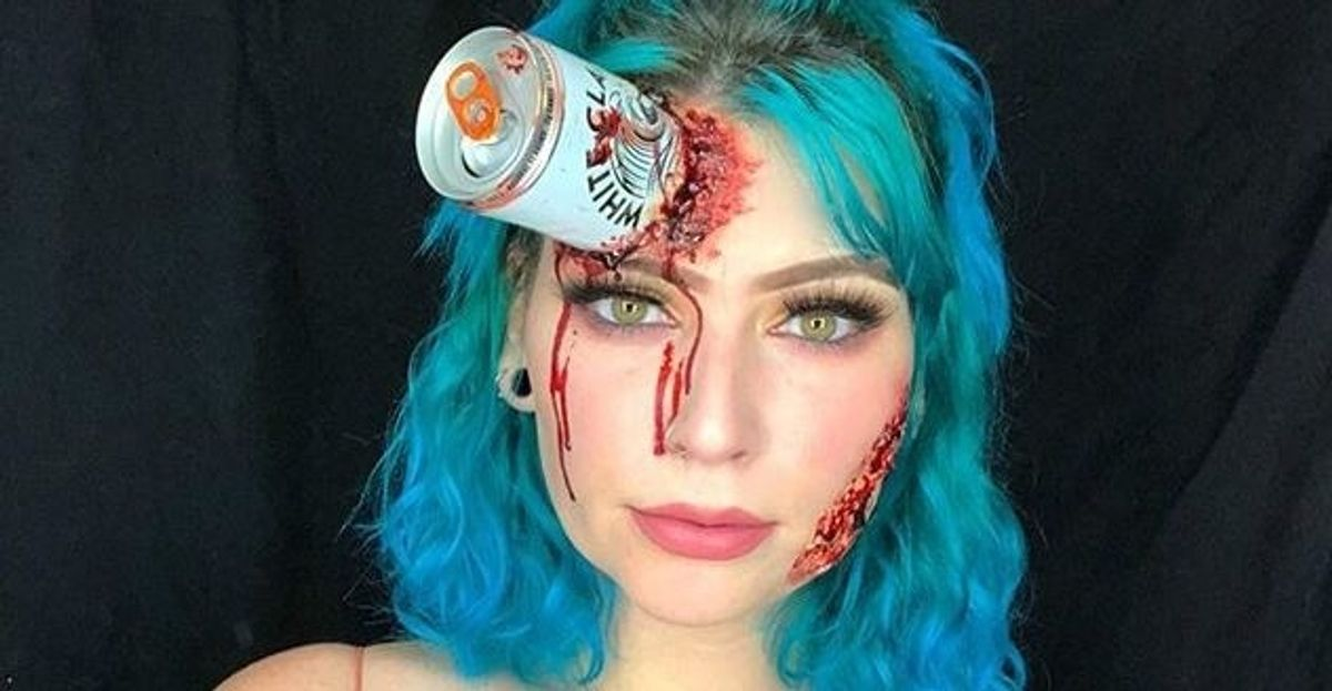 White Claw Halloween Makeup Is A Thing Now, And It's Terrifying