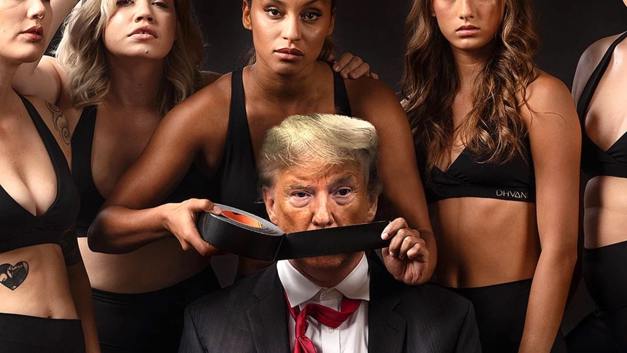 Times Square billboard for athletic wear company shows Trump being hog-tied and humiliated by feminists