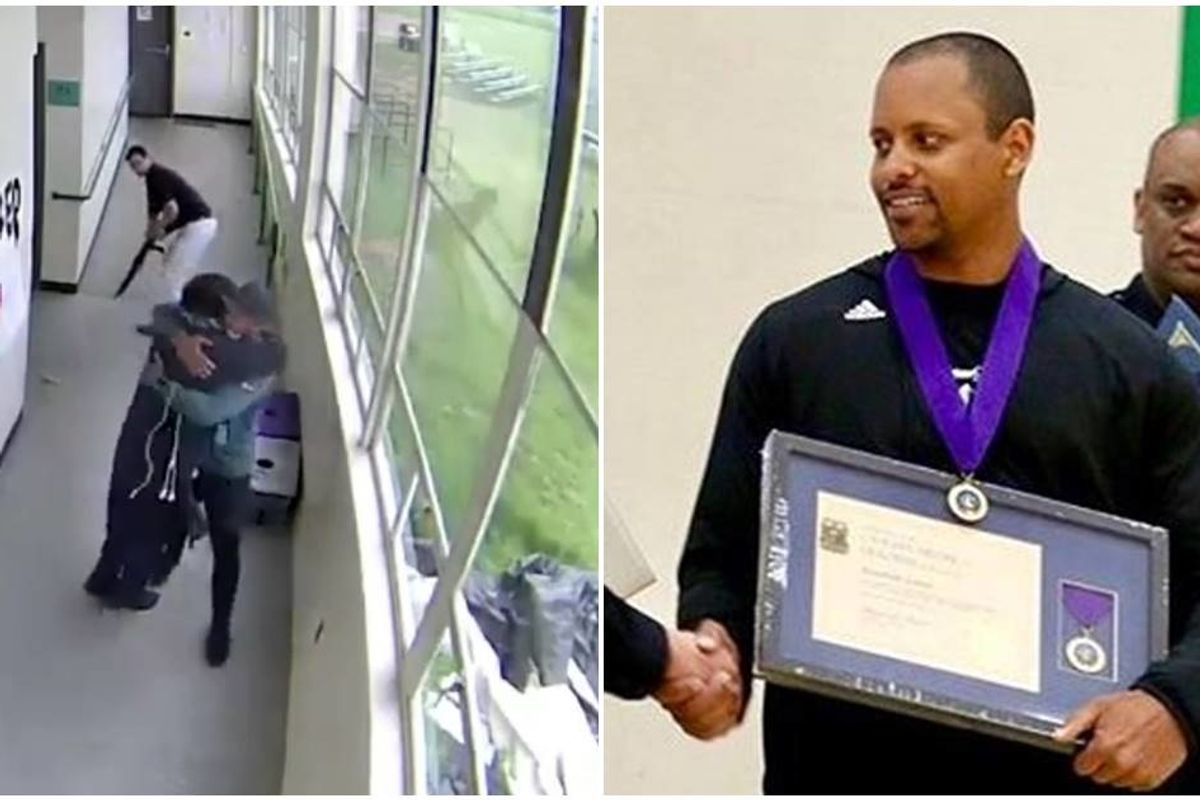 Incredible footage shows an ex-college football star disarming a student gunman with hugs