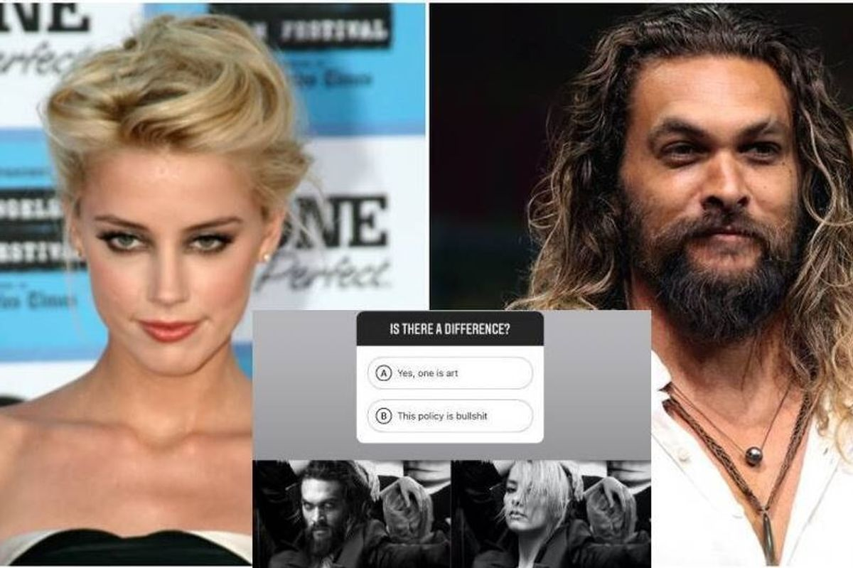 Amber Heard perfectly exposed Instagram's nipple double-standard using her costar, Jason Momoa