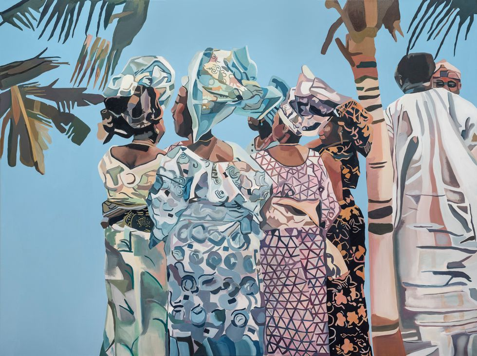 A colorful painting of women in West African traditional dress.