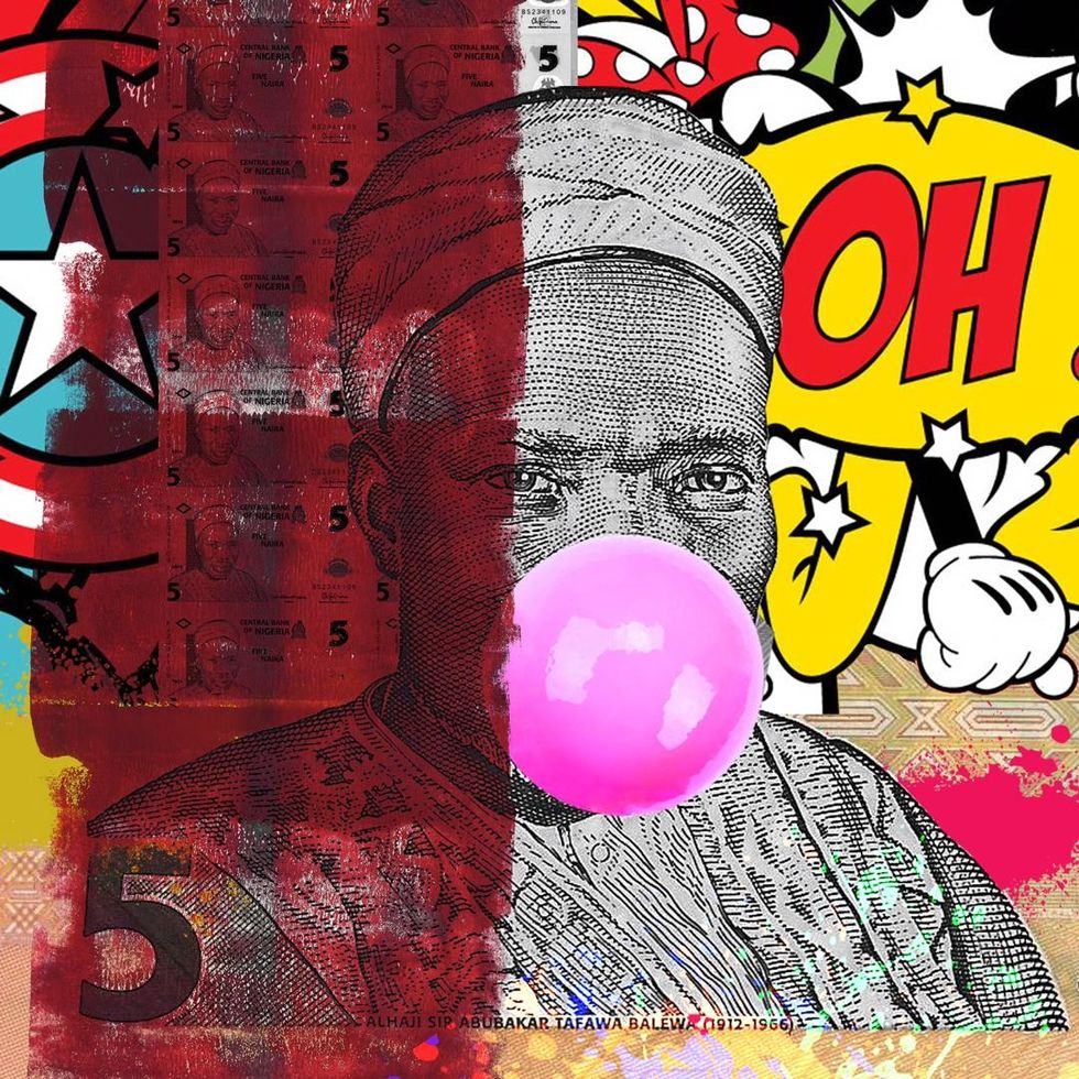 Colorful pop art image of Nigerian currency chewing bubble gum.
