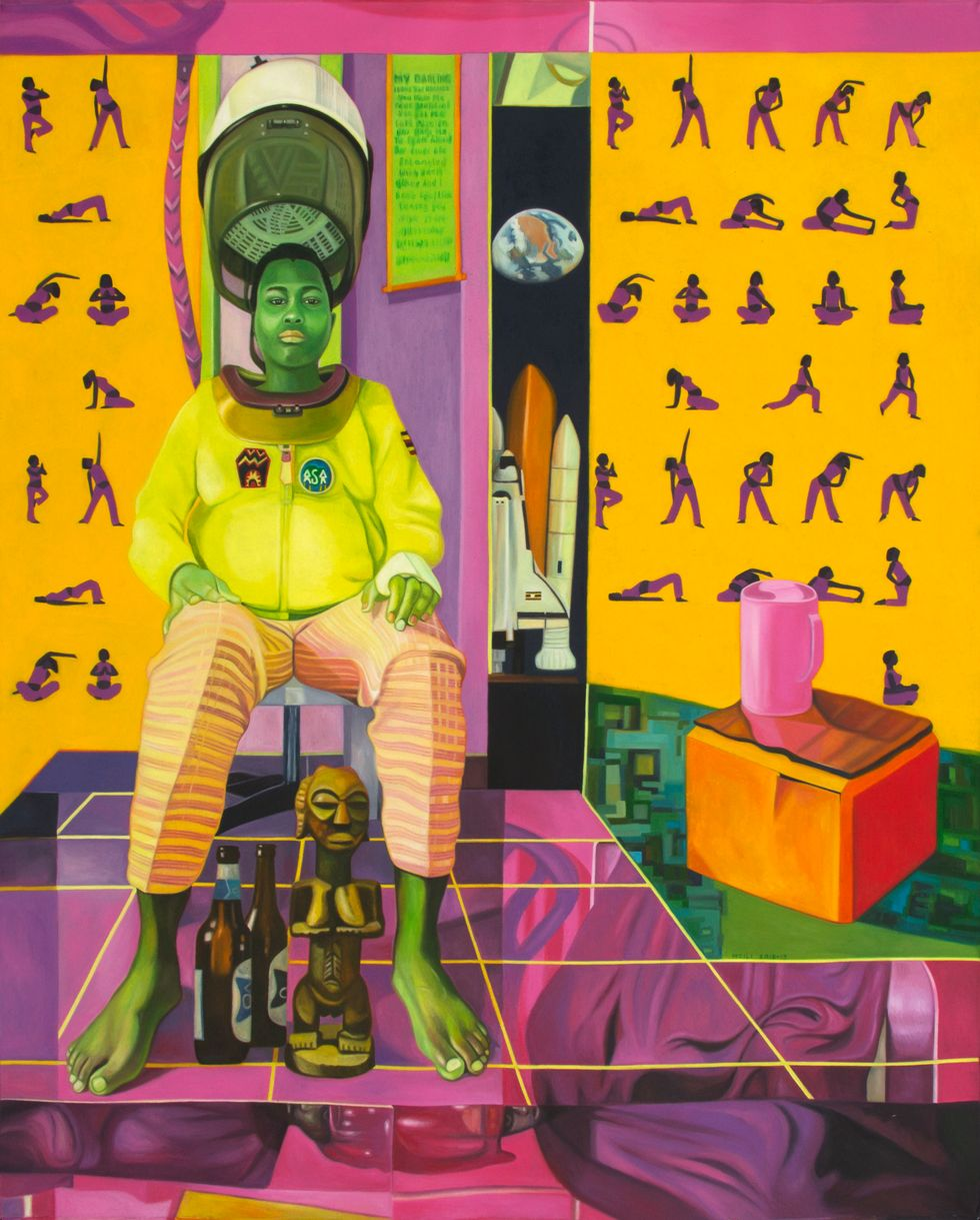Colorful painting of man with futuristic and ancient African symbolism.