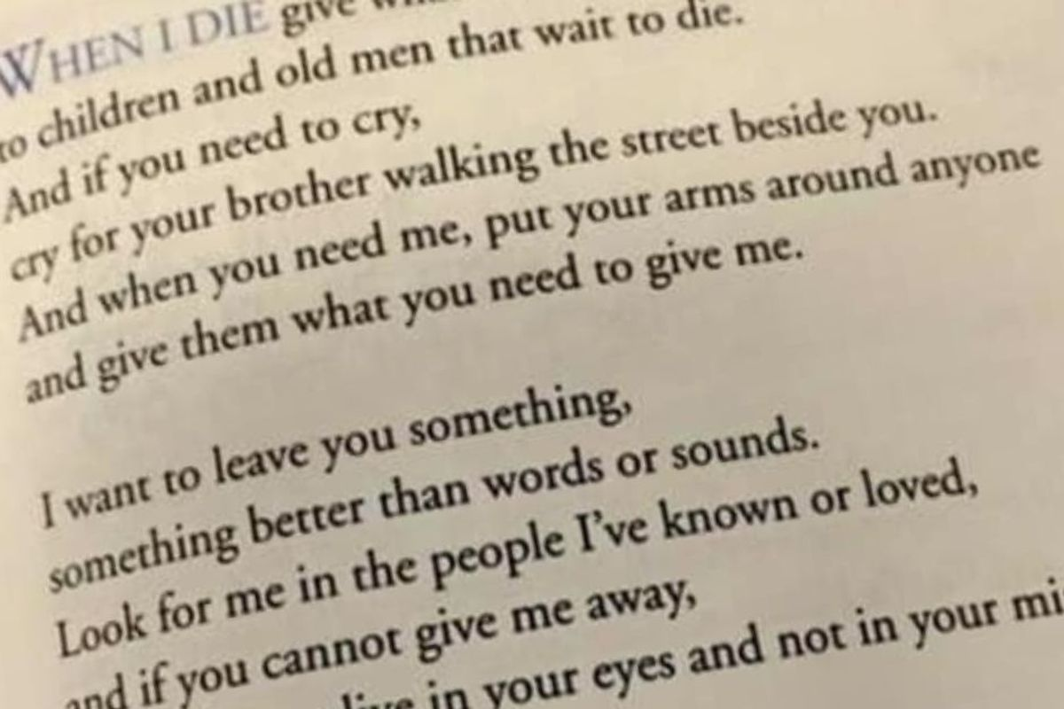 A poem about death has gone viral for the beautiful, universal truth it contains