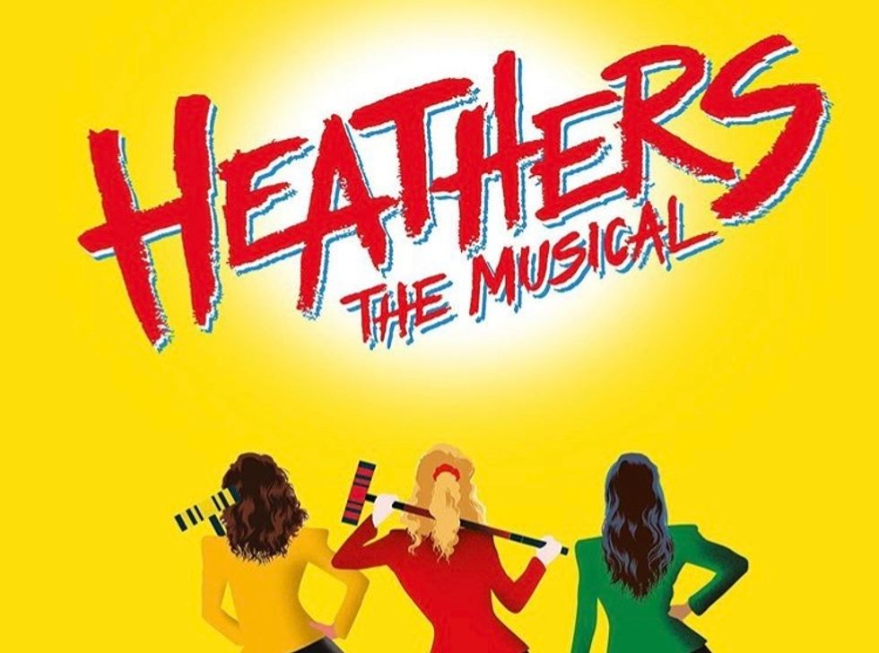 """""""Heathers: The Musical"""" promotional image, featuring the Heathers with their traditional colors and backs turned"""