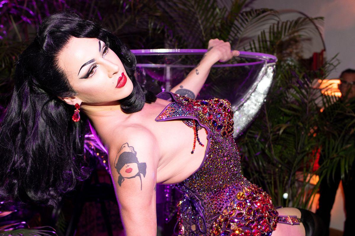 Violet Chacki Straddled a Life-Size Martini to Celebrate Her Fragrance