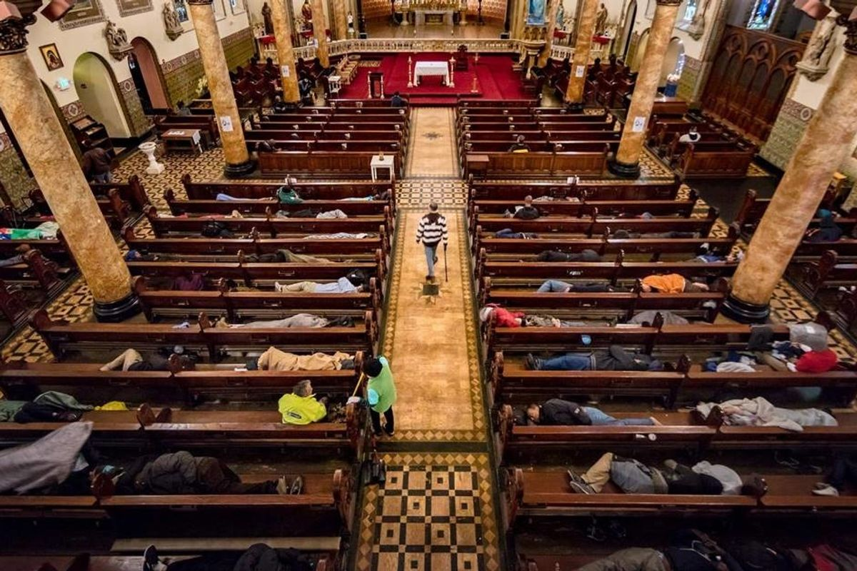 Every day this San Francisco Church provides the homeless with blankets and 'sacred sleep' in its pews