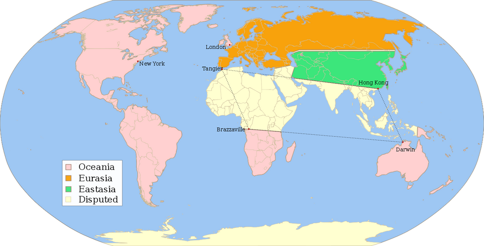 A map of the world in 1984, showing Oceania, Eurasia, and Eastasia.