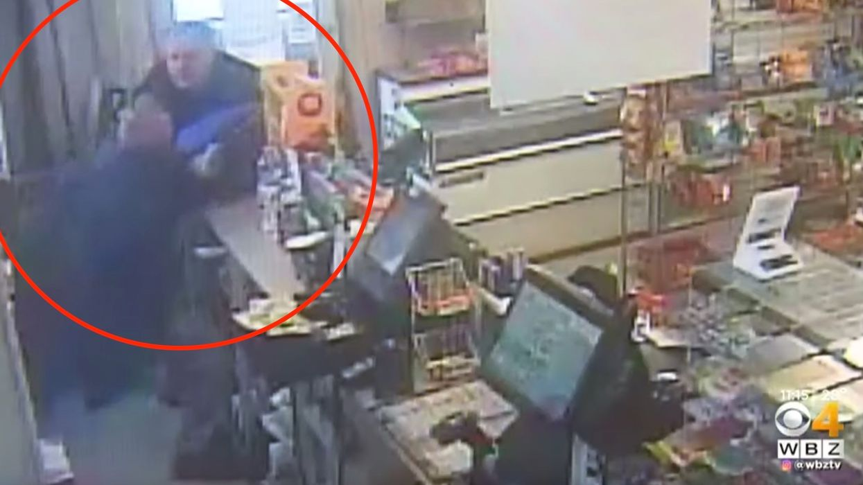 VIDEO: Man tries to rob convenience store with a knife at the worst time, and looks up to see a gun in his face