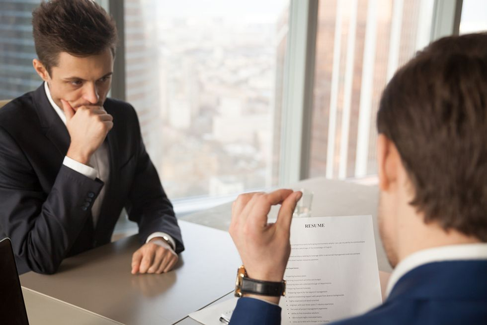 This nervous job seeker was caught slightly unprepared during his job interview.