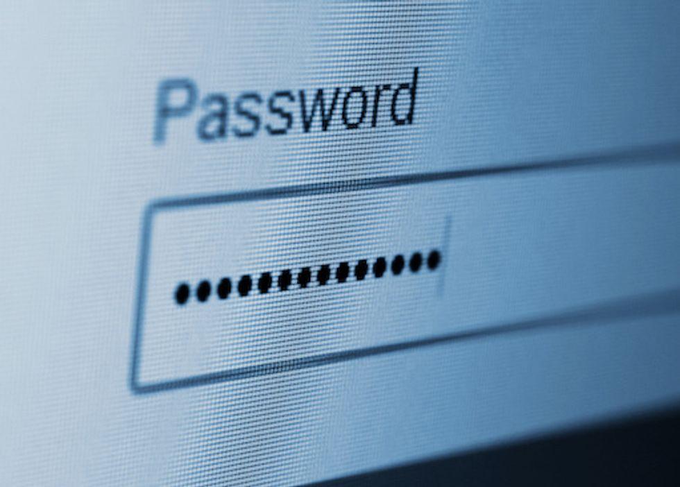 A screen with a hidden password