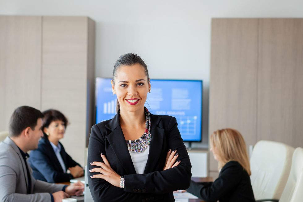 Career woman happy about her career story