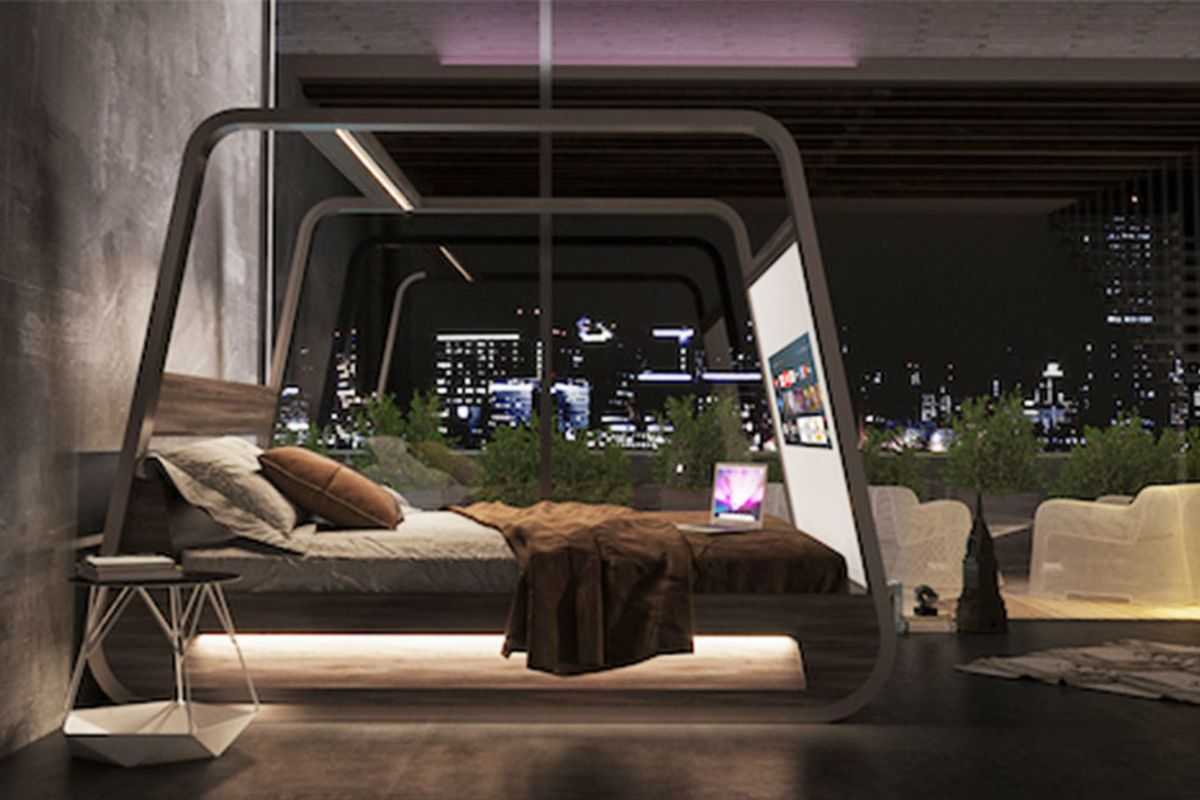 What happens when you combine a smart TV and a bed? You get this amazing hi-tech smart bed.