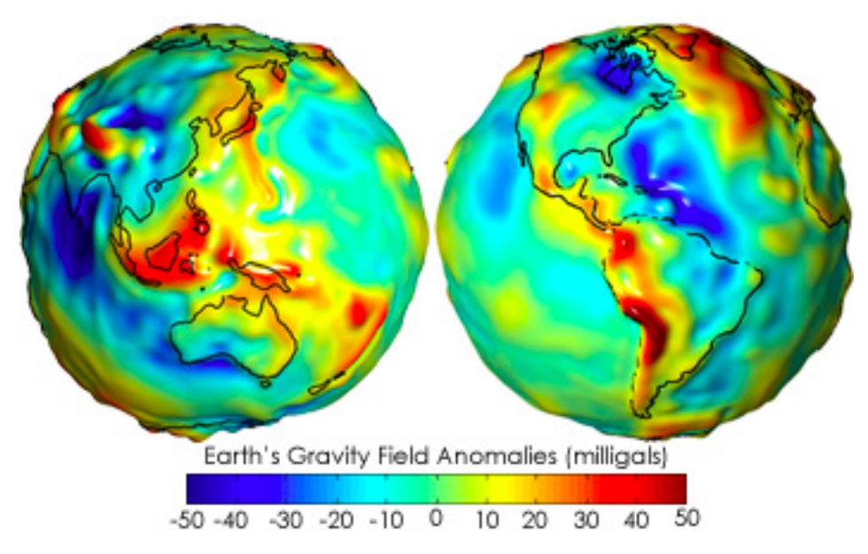 A gravity anomaly map of the entire earth, in two hemispheres.