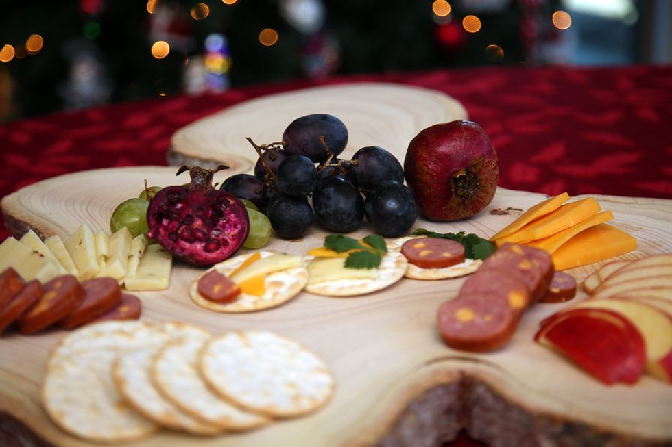 Festive cheese board for a holiday work party