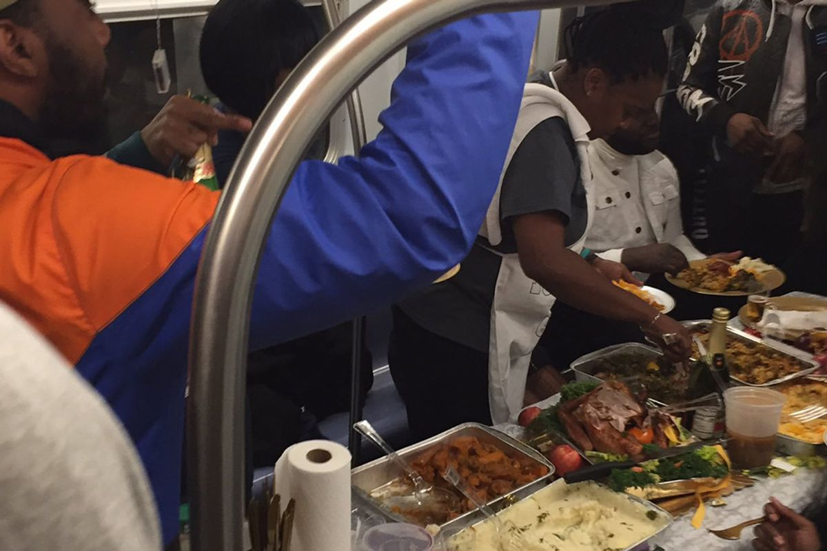 New Yorkers came together for a Thanksgiving dinner on the subway