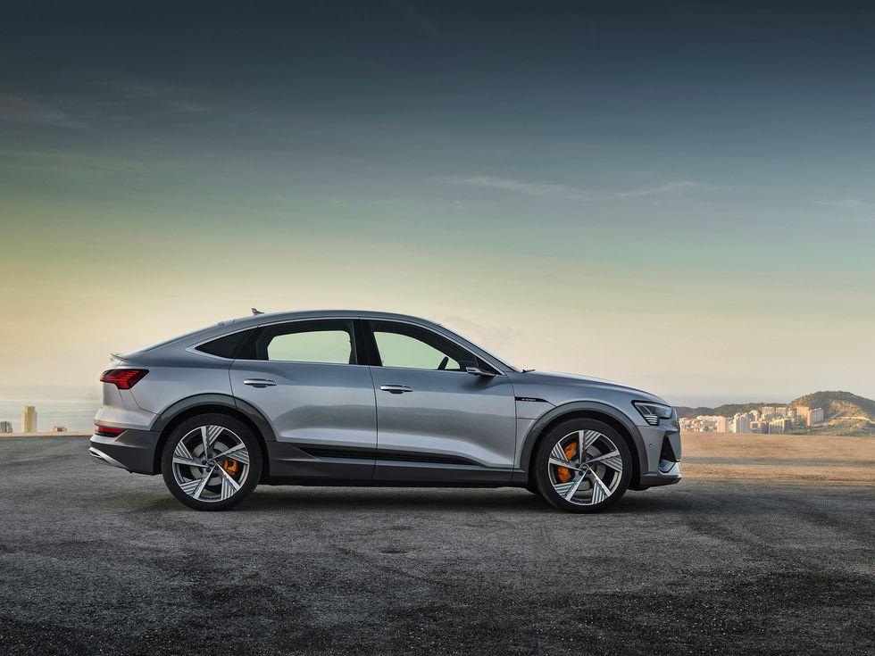 2020 Audi E-Tron Sportback side rear profile fastback roofline roof