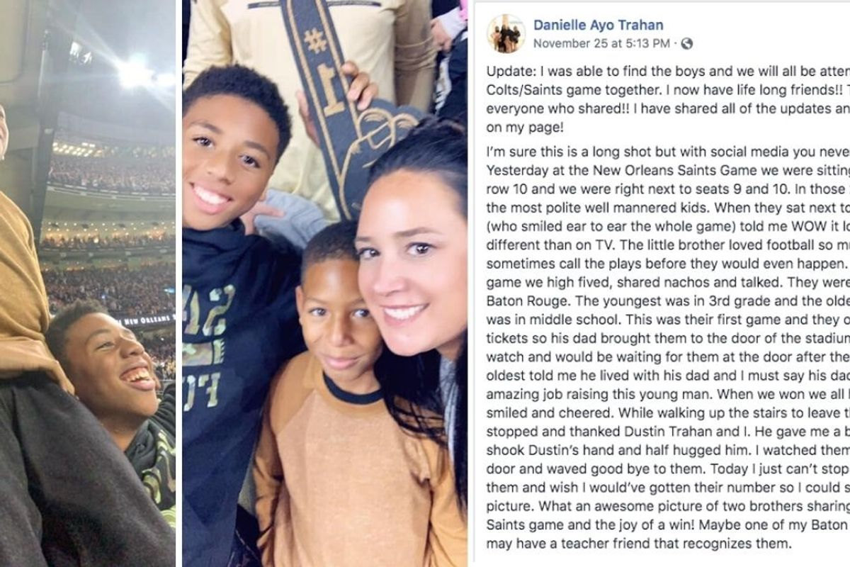 A woman's viral post about sitting next to these two kids at a Saints game is a must-read