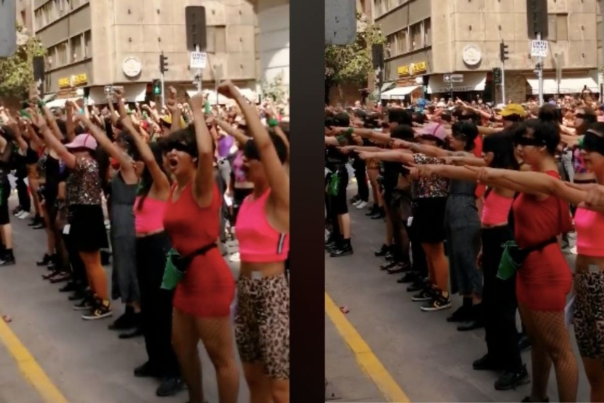 Blindfolded women singing an anti-rape chant on the streets of Chile is powerfully haunting