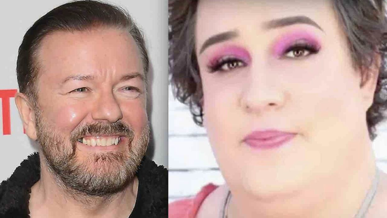 Comedian Ricky Gervais brutally mocks transgender activist with male genitalia who complained of being turned away by gynecologist