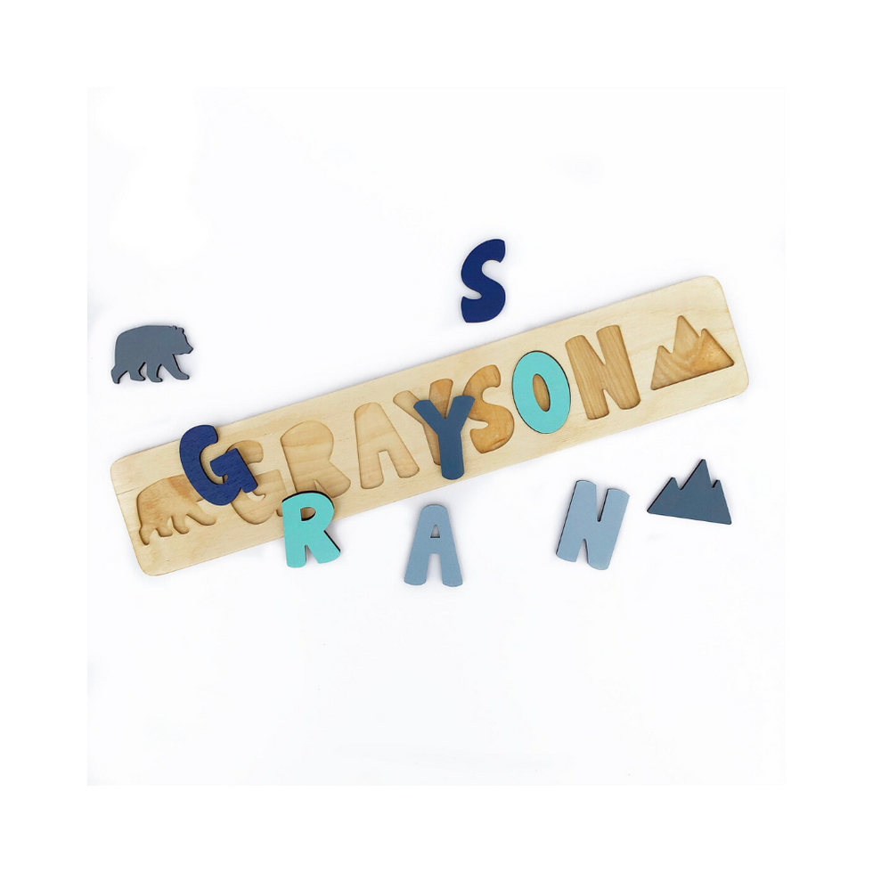 Wooden Name Puzzle with Bear and Mountain, Christmas Gift, Personalized Gift for Toddlers