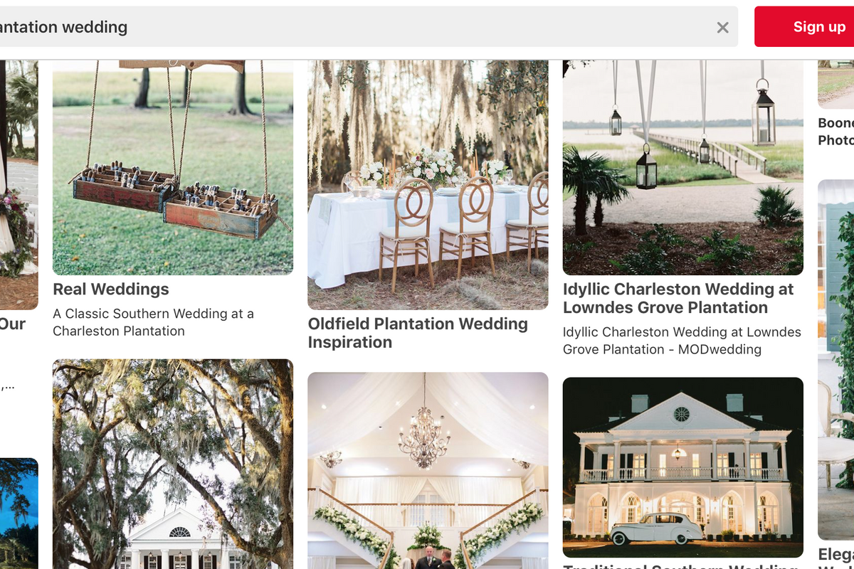 Pinterest and the Knot will stop promoting plantation weddings