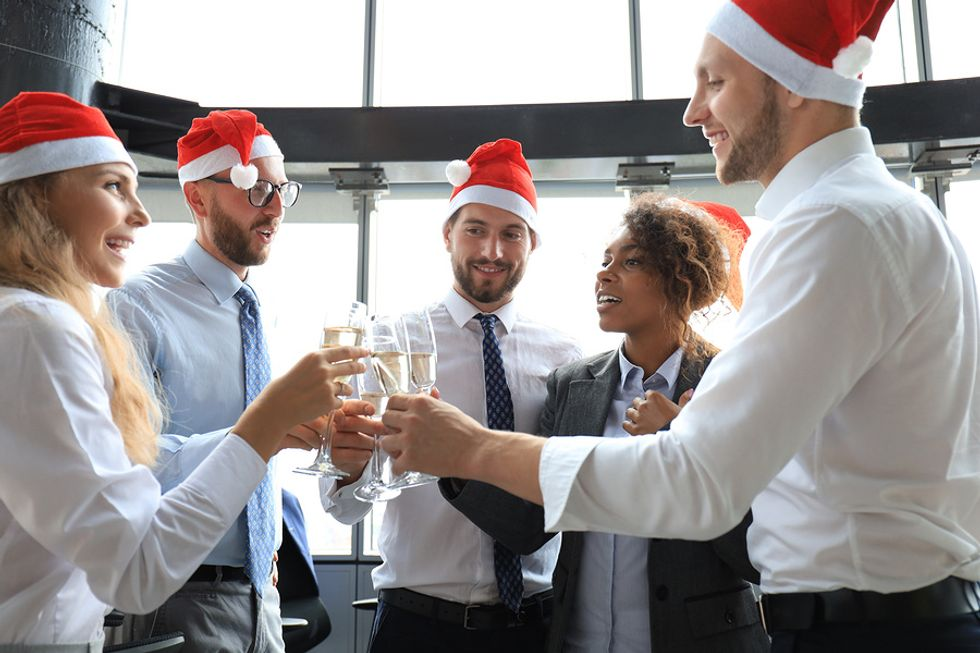 Group of professionals at a holiday networking event