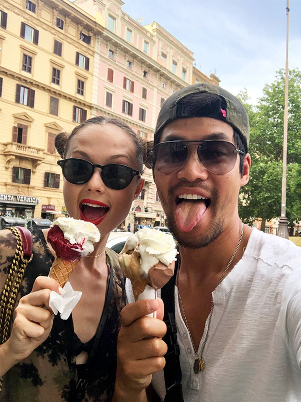 Actor David Lim and wife Marketa Kazdova eating ice cream (gelato) cones in Rome.