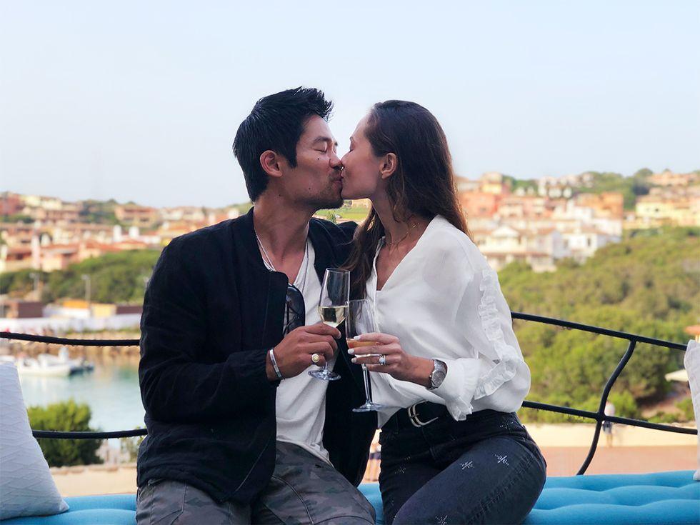 Actor David Lim and wife Marketa Kazdova drinking Champagne in Croatia on their honeymoon.