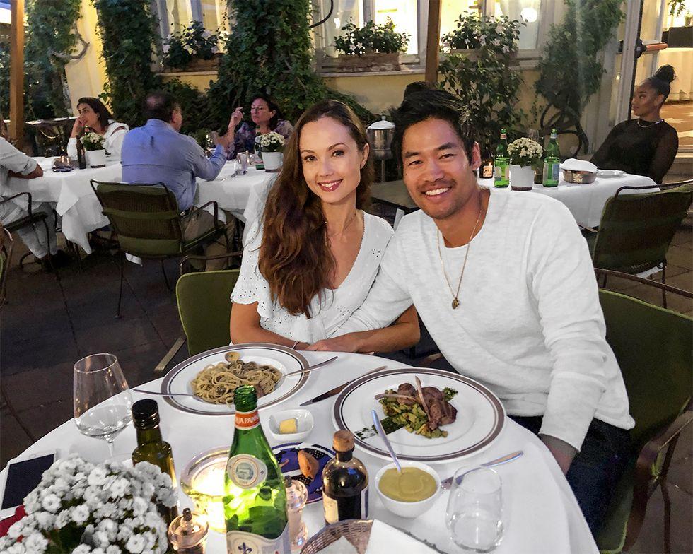 Actor David Lim and wife Marketa Kazdova having a romantic Italian meal in Rome.
