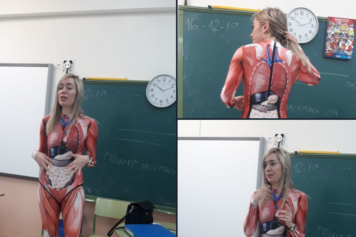 A teacher is going viral for giving a biology lesson wearing an anatomically correct suit