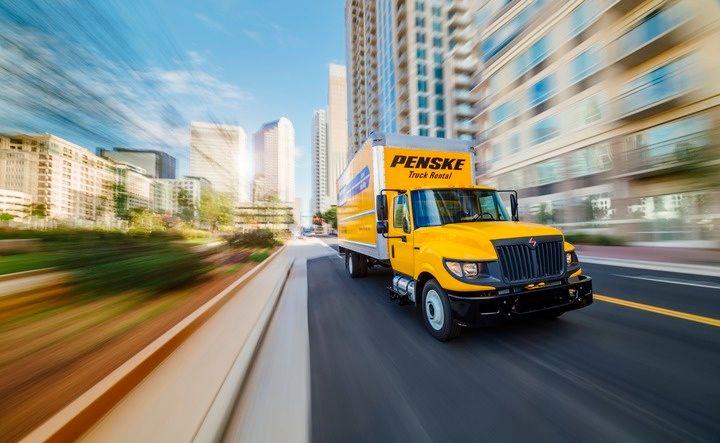 Penske truck in city