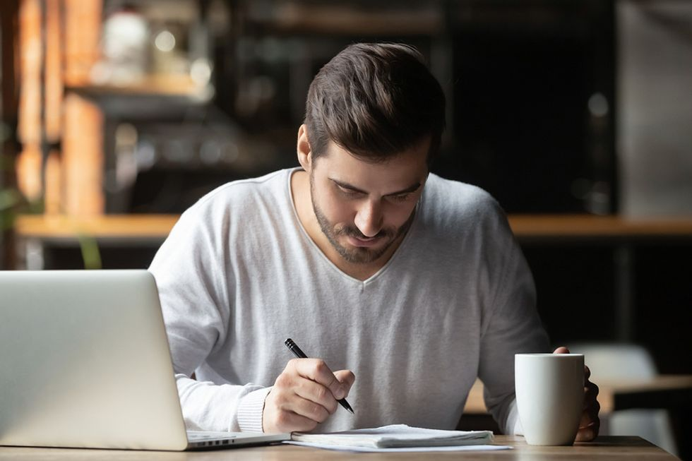 Professional man struggling with his New Year's resolutions