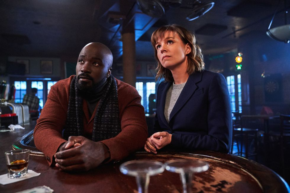 Mike Colter as David Acosta and  Katja Herbers as Kristen Bouchard in pilot episode of supernatural drama series Evil.