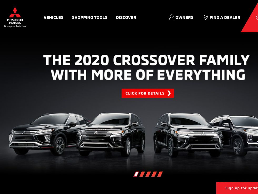 Mitsubishi Motors homepage