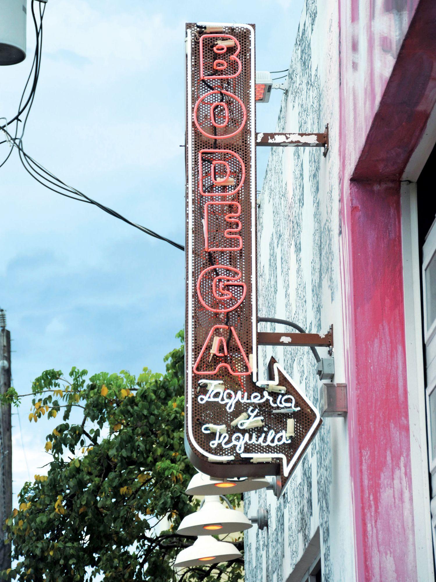 The sign of Bodega taqueria in Miami.