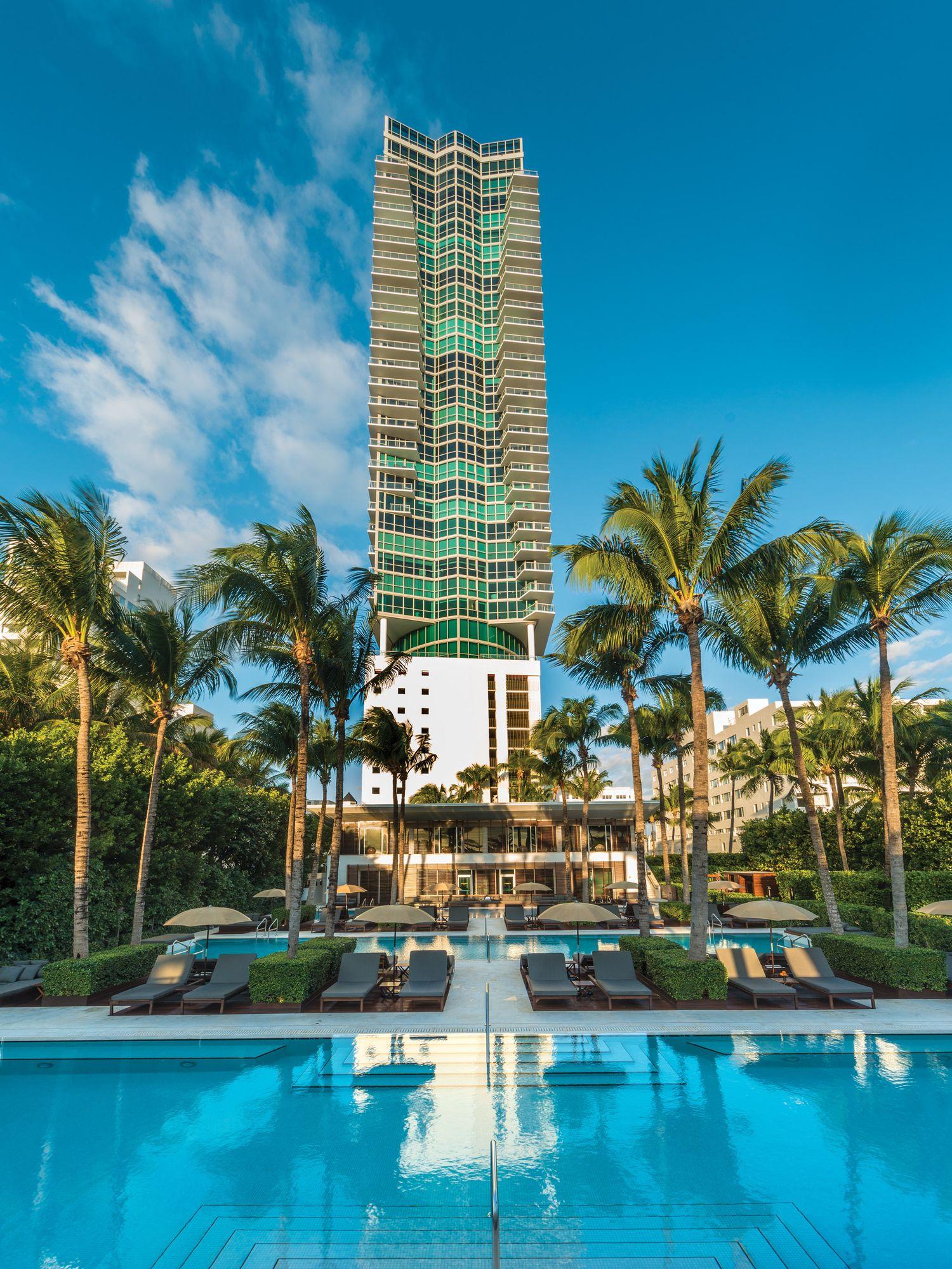 Exterior image of the Setai Miami Beach hotel.