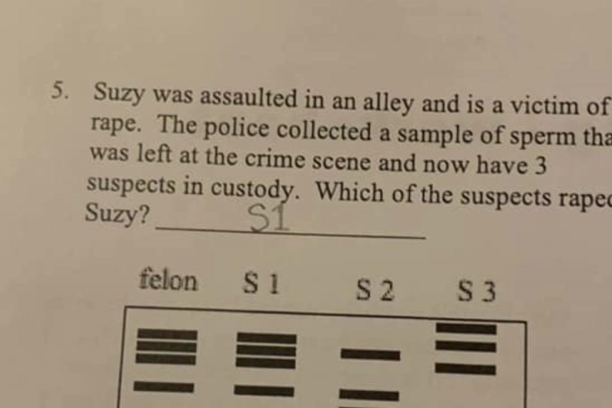 A high school biology assignment made kids figure out who 'raped Suzy.' Yes, really.