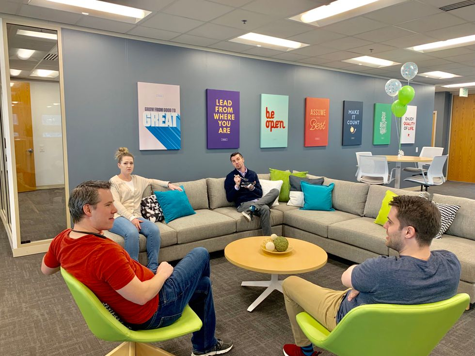 Employees collaborate often during a typical workday at BambooHR.