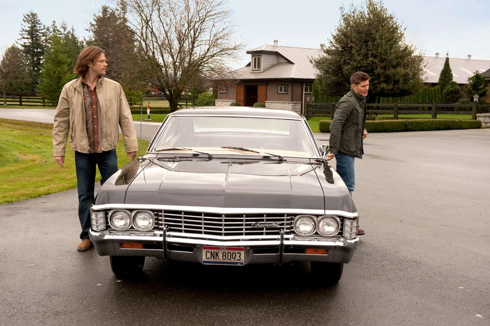 Jared Padalecki and Jensen Ackles filming TV show Supernatural.