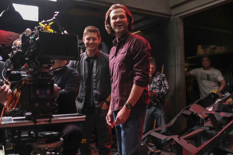 Behind-the-scenes on the set of TV show Supernatural.