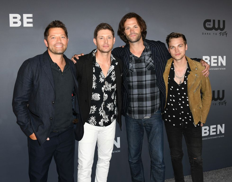 Misha Collins, Jensen Ackles, Jared Padalecki and Alexander Calvert attend a red carpet event.