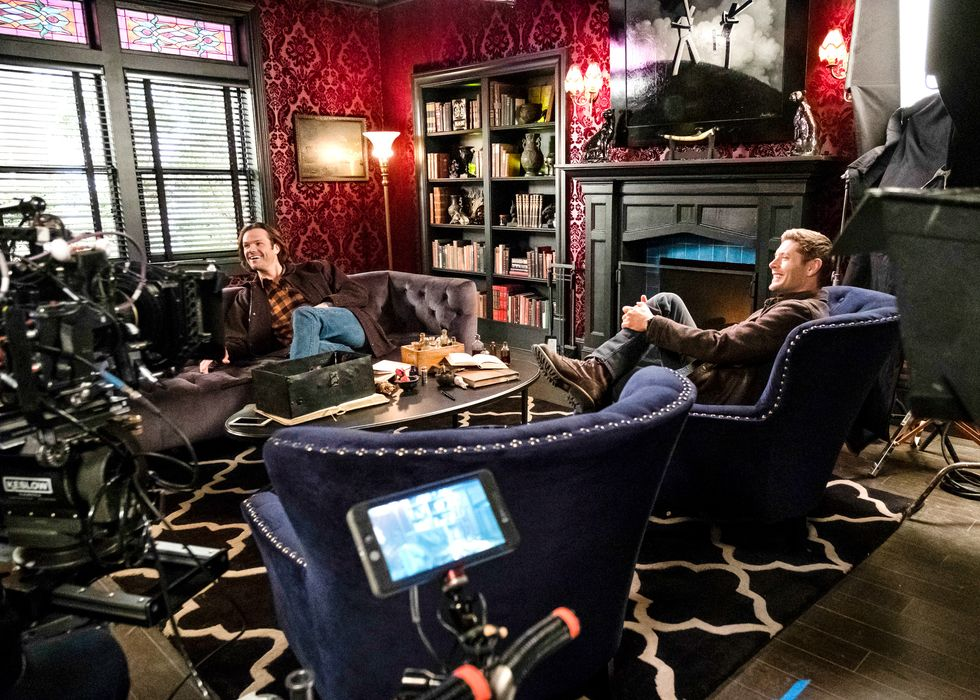 Jared Padalecki and co-star Jensen Ackles on the set of Supernatural.